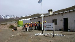 Workers gather at Coro Mining's San Jorge copper-gold project in Mendoza, Argentina. Credit:  Coro Mining