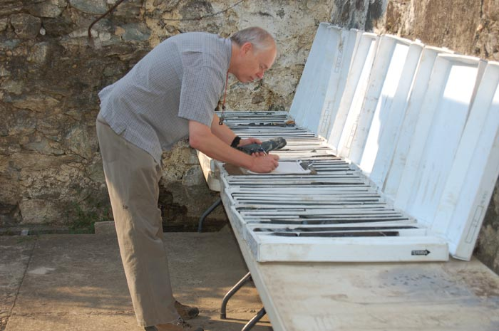 Exploration manager Nigel Hulme studying core samples at Impact Silver's camp in Zacualpan, Mexico. Source: Impact Silver