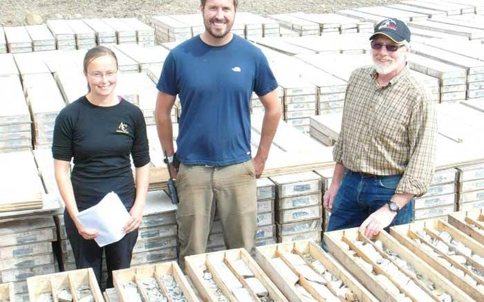 From left, geologists Julia Lane and Richard Phillips with ATAC Resources president Rob Carne, in the core storage area of the Rackla gold project in the eastern Yukon. Photo by Gwen Preston.