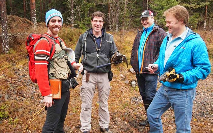 From left: Eurasian Minerals geologist Stefano Gialli, general manager of exploration Eric Jensen, logistics coordinator Anders Norrbck and project marketing manager Chris Greenhoot at the Gumsberg copper-gold project in Sweden. Photo by Gwen Preston.