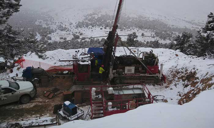 Drillers last month at Pilot Gold's Kinsley Mountain gold project in Elko County, Nevada. Credit: Pilot Gold