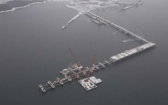 The new deepwater, multi-user iron ore dock under construction in Sept-les, Quebec, where New Millennium plans to send iron ore from the Taconite project in the Labrador Trough. Credit: New Millennium Iron
