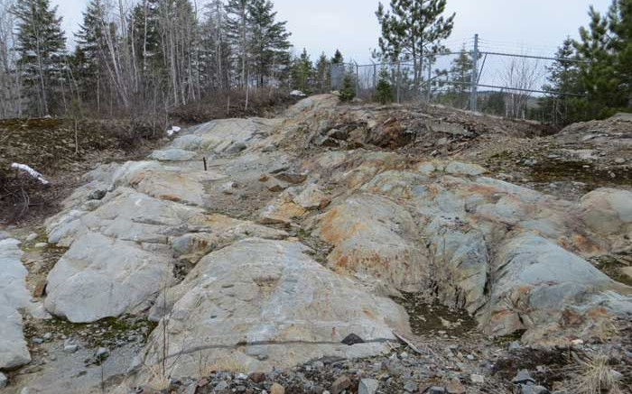 An outcrop at Sudbury Platinum's Aer-Kidd nickel-copper-PGM project in Sudbury, Ontario. Credit: Transition Metals