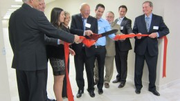 Actlabs founder and president Eric Hoffman cuts the ribbon to mark the opening of the firm's new facility in Ancaster, Ontario. Photo by Salma Tarikh.