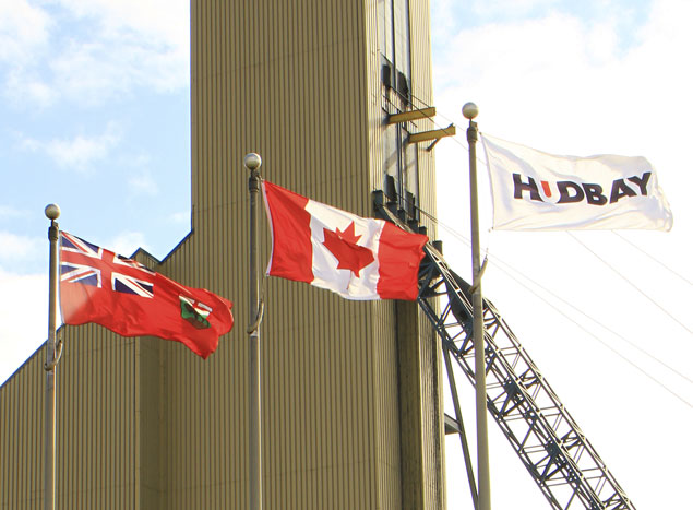 Flags blowing in the wind at Hudbay's 777 mine in Manitoba. Credit: HudBay Minerals