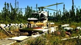 A helicopter at Balmoral Resources' Martiniere gold property in Quebec's Abitibi region. Credit: Balmoral Resources