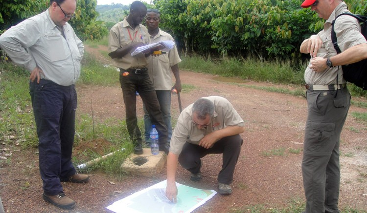 Discussing plans at the Enchi gold project in Ghana. Credit: Featherstone Capital