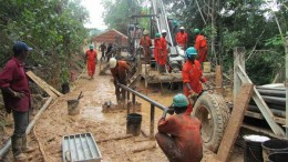 A drilling team in action at Pinecrest Resources' Enchi gold project in Ghana. Credit: Pinecrest Resources