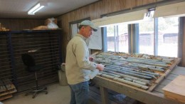 Peter Harvey, senior project geologist, examines drill core from Temex Resources and Goldcorp's Whitney gold project. Credit: Temex Resources