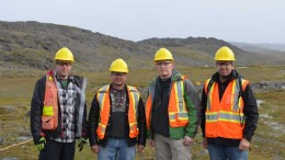 At the West Raglan nickel sulphide exploration project in northern Quebec's Cape Smith belt, from left: True North Nickel's Phil Smerchanski, vice-president of exploration; Donald McInnes, co-chair and CEO; Sean Tetzlaff, chief financial officer; and Alex Holmes, vice-president of business development. Credit: True North Nickel