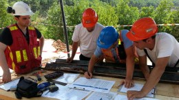 Euromax Resources' technical team working on the geotechnical drilling that went into the prefeasibility study for the Ilovitza gold-copper project in Macedonia. Credit: Euromax Resources