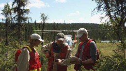 Champion Iron's team discuss plans at the Fire Lake North project in northeastern Qubec.  Credit: Champion Iron