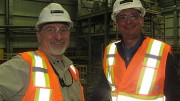 Detour Gold general manager of operations Chuck Hennessey (left) with president and CEO Paul Martin in the processing plant at the Detour Lake gold mine in Ontario. Photo by Trish Saywell.