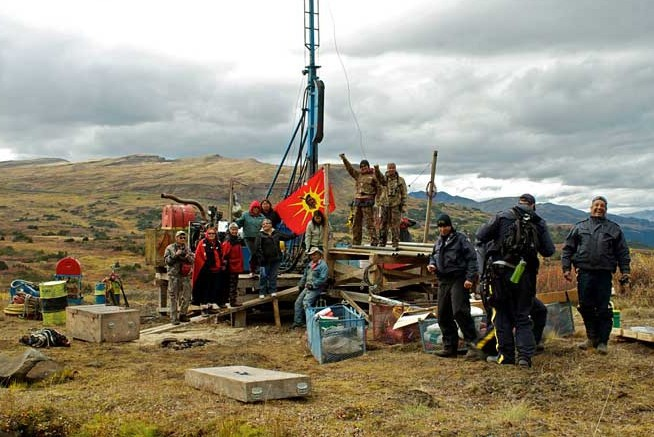 Elders, warriors and escorts representing the Tahltan Nation occupy a drill site in September at Fortune Minerals' Arctos coal project in northwest British Columbia. Photo by Tamo Campos.