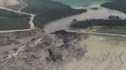 The breach of the tailings dam at Imperial Metals' Mount Polley copper-gold mine in B.C.'s Cariboo region. Credit: screenshot from Cariboo Regional District video.