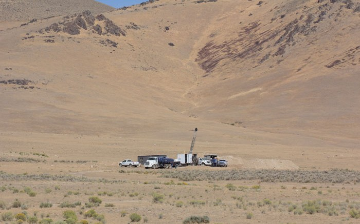 Drilling at Midway Gold and Barrick Gold's Spring Valley gold project in Nevada. Credit: Midway Gold