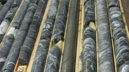 Drill core from Balmoral Resources'  Grasset nickel-copper-PGE project in Quebec, 600 km northwest of Montreal. Credit: Balmoral Resources