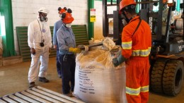 Workers load the first shipment of vanadium pentoxide from Largo Resources' Maracas mine in Brazil. Credit: Largo Resources