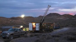 A drill site at Corvus Gold's North Bullfrog gold project, 15 km north of Beatty, Nevada. Credit: Corvus Gold