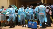 Volunteers with the Red Cross Society of Guinea prepare to disinfect a hospital in Conakry, Guinea, following the Ebola outbreak in April. Credit: European Commission DG Echo