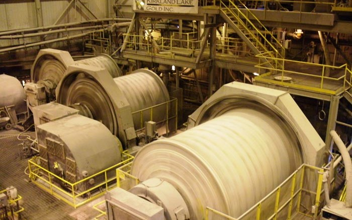 Ball mills spin at Kirkland Lake Gold's Macassa gold mine in Ontario. Credit: Kirkland Lake Gold