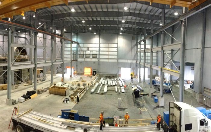 The interior of the mill building under construction in August at Rubicon Minerals' Phoenix gold mine project in Ontario's Red Lake camp. Credit: Rubicon Minerals
