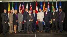 Almost all of Canada's mining, natural resources and energy ministers at Collge Boral in Sudbury, Ont., in August, from left: Scott Kent, Yukon; Dave Chomiak, Manitoba; Diana McQueen, Alberta; Zach Churchill, Nova Scotia; Andrew Younger, Nova Scotia; Michael Gravelle, Ontario; Bob Chiarelli, Ontario; Greg Rickford, Canada; Pierre Arcand, Quebec; Derrick Dalley, Newfoundland and Labrador; and David Ramsay, Northwest Territories. Credit: Ontario Ministry of Northern Development and Mines