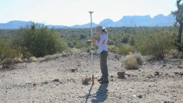 A geologist uses GPS to survey historic drill locations at Uranium Energy's Anderson uranium project , 121 km northwest of Phoenix, Arizona. Credit: Uranium Energy