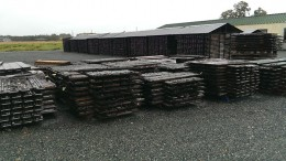 Core racks at Falco Resources' historic gold property in Rouyn-Noranda, Quebec.