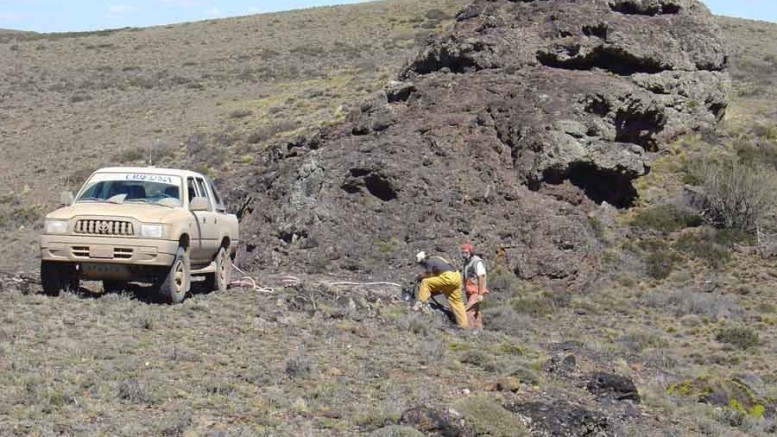 A field team channel-sampling the Tranquilo vein at Argentex Mining's Pinguino silver-gold project in Argentina. Credit: Argentex Mining