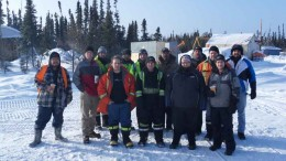 The field team in March at Mega Precious Metals' Monument Bay gold-tungsten project, 340 km southeast of Thompson, Manitoba. Credit: Mega Precious Metals