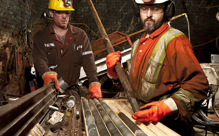 Drillers underground at San Gold's Rice Lake gold mine in Manitoba. Credit: San Gold