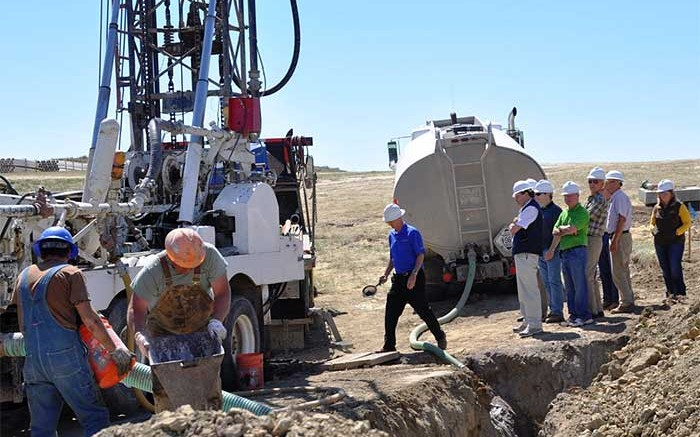Uranerz Energy's board of directors visits a drill site at the Nichols Ranch uranium project in Wyoming. Credit: Uranerz Energy