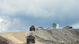 Trucks hauling material at Thompson Creek Metals' Mt. Milligan copper-gold mine in northern B.C. Photo by The Northern Miner