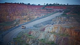 Trucking at Iamgold's Rosebel open-pit gold mine in northeastern Suriname. Credit: Iamgold