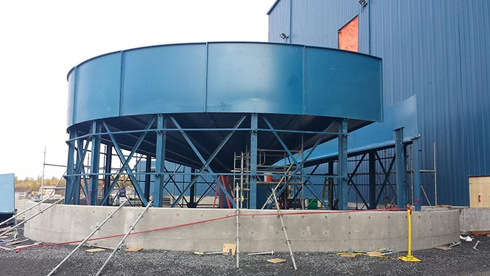 The mill thickener under construction at Rubicon Minerals' Phoenix gold project, in Red Lake, Ontario. Rubicon Minerals