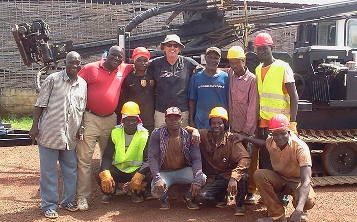 A drill crew in front of a drill rig at African Gold Group's Kobada gold project in Mali. Credit: African Gold Group