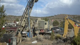 Drillers targeting the Iceberg gold deposit at NuLegacy Gold's Red Hill project in Nevada. Credit: NuLegacy Gold