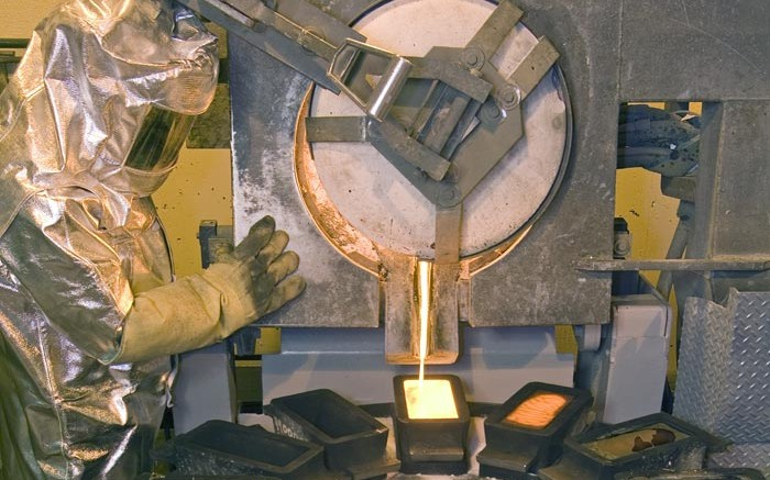 Pouring gold bars at Barrick's Goldstrike refinery in Nevada. Credit: Barrick Gold
