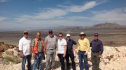 Standing on the Hasbrouck peak at West Kirkland Mining's gold project in Nevada, from left: Frank Hallam, CFO; Richard Histed, U.S. exploration manager; Michael Jones, president and CEO; Kevin Falcon, director; Pierre Lebel, director; Michael Allen, vice-president of exploration; and Sandy McVey, COO. Photo by Matthew Keevil.