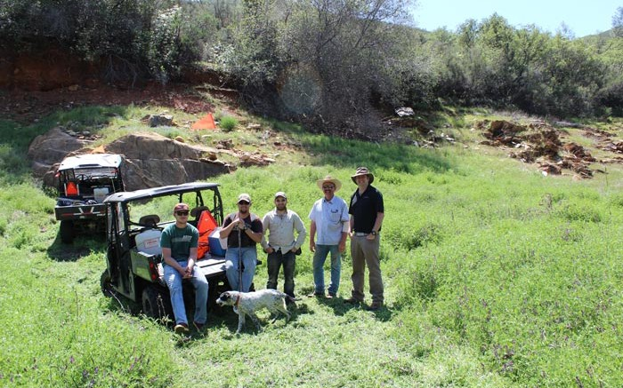 In the field at California Gold's Fremont gold project in Mariposa County, California, from left: Jason Scherf, field technician; Bryan Alexander, field technician; Jean-Francois Ravenelle, SRK geologist; Cary Griffith, on-site manager; and Simon Cliffe, SRK. Photo by Katie Lister.