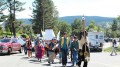 Opponents of Taseko Mines' New Prosperity copper-gold project protest at a public hearing in Williams Lake, British Columbia. Photo by Gwen Preston.