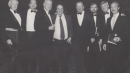 At a mining event in Toronto (circa 1989?), from left: Mort Brown, James Borland, Alfred Powis, Pat Sheridan, Bill James, Olav Svela, John Cooke and Steven Roman.