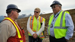 At the KSM gold-copper project in B.C., from left: Brent Murphy, Seabridge Gold's VP of environmental affairs; Caroline Findlay, legal counsel, formerly of Blake Cassels; and Harry Nyce Sr, director of Nisga'a Nation's fisheries and wildlife. Credit: Seabridge Gold