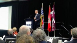David Harquail, Franco-Nevada president and CEO, delivers a keynote address during the Association for Mineral Exploration BC's annual Roundup conference late last month.  Photo by Matthew Keevil.