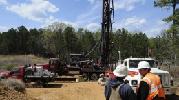 A drill crew at Romarco Minerals' Haile gold property 5 km due northeast of the town of Kershaw, South Carolina. Credit: Romarco Minerals