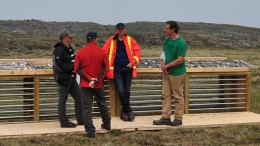 At Agnico Eagle Mines' Amaruq gold project in Nunavut in mid-2014, from left: Guy Gosselin, vice-president of exploration; Alain Blackburn, senior vice-president of exploration; Marc Ruel, director of mine geology and grade control; and Jerome Lavoie, project geologist. Credit: Agnico Eagle Mines