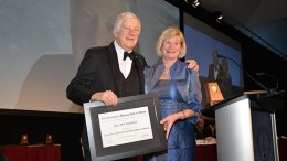 Inductee Peter Bradshaw accepts a plaque from Mining Matters president Patricia Dillon. Credit: Canadian Mining Hall of Fame