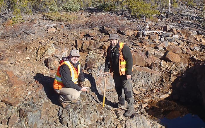 TerraX Minerals president Joseph Campbell (left) and vice-president of exploration Tom Setterfield at the Yellowknife City gold project in the Northwest Territories. Credit: TerraX Minerals