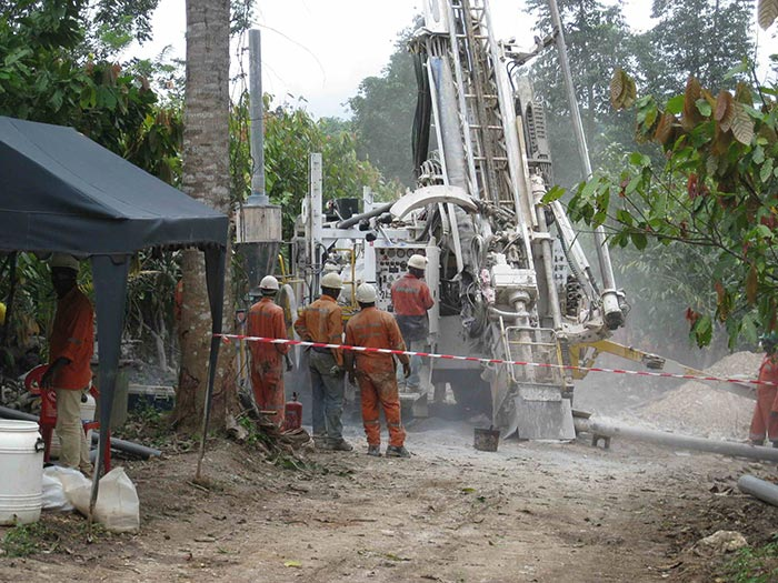 Drillers at Pinecrest Resources' Enchi gold project in southwestern Ghana. Credit: Pinecrest Resouces